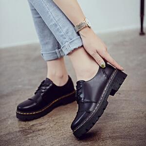 妃枫霏新款英伦风时尚小皮鞋圆头厚底系带女单鞋学生简约百搭休闲鞋