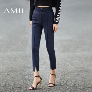 【预售】Amii2017春装新款高腰开衩脚口修身休闲裤长裤女九分裤