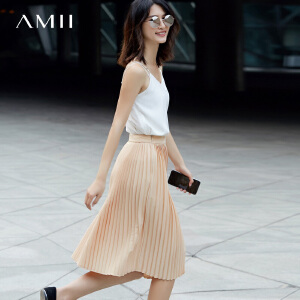 Amii[极简主义]2017春装新品飘逸灵动宽松时尚百褶半身裙11770303