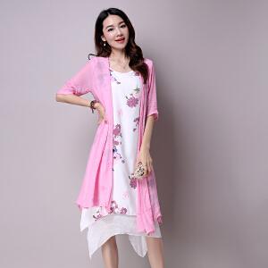波柏龙 2017春款棉麻连衣裙亚麻两件套文艺民族风印花两件套