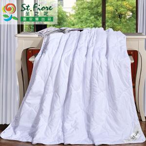[当当自营]富安娜空调被夏凉被单双人夏季纯棉被子被芯可水洗宿舍被褥��被 妍妍空调被 花吻 白色1.5m(203*229cm)