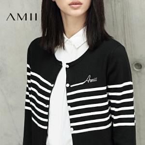 【AMII超级大牌日】[极简主义]2017女秋装新字母绣花条纹大码毛针织开衫11642936