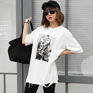 2017夏季新款破洞中长款短袖T恤韩版女装BB17530