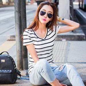 夏季条纹短袖T恤女韩版修身半袖T��上衣学生百搭打底衫体恤棉小衫ZY3831