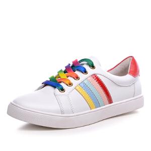 milkroses 时尚潮流彩虹条系列牛纹低帮鞋