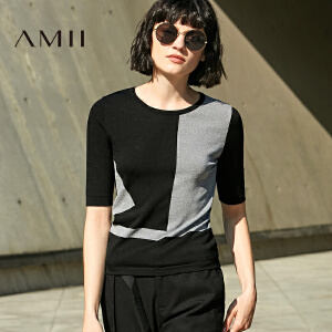【AMII超级大牌日】[极简主义] 2017春新品修身圆领套头拼色中袖针织T恤11780026