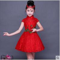 女童旗袍蕾丝儿童唐装中国风连衣裙小女孩古典演出服儿童服装支持礼品卡支付