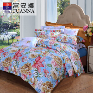 [当当自营]富安娜家纺 艺术家纺床单四件套 磨毛加厚保暖冬季被套床上用品 灿烂人生1.5米床(5英尺)床