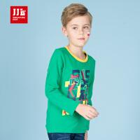季季乐童装2017秋季新款男童T恤字母圆领打底衫中大儿童长袖上衣