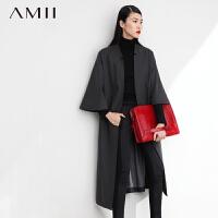 【AMII超级大牌日】[极简主义]新品羊毛呢子拼接牛仔布中袖宽松中长外套11480558