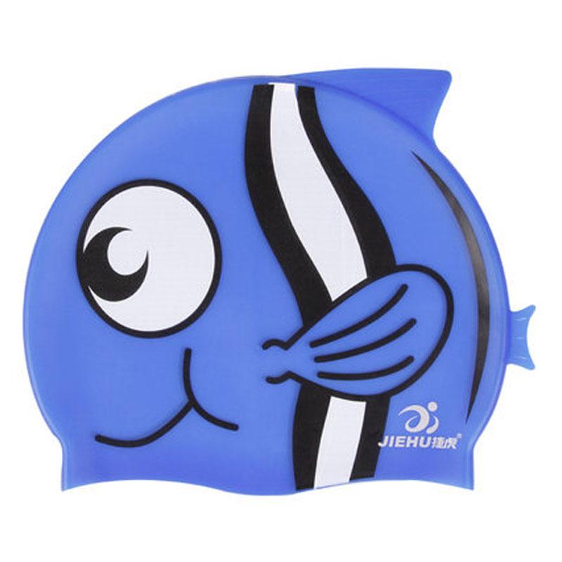 儿童硅胶游泳帽 男女宝宝游泳帽子 可爱鱼型泳帽_蓝色海豚