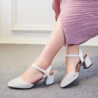 娜箐箐方头镂空粗跟高跟低帮女鞋真皮头层牛皮单鞋