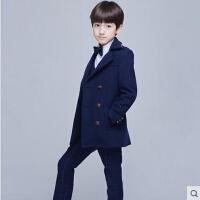 日韩中长款呢子呢大衣加厚英伦风男童毛呢外套儿童男童装潮