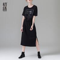 初语 2017夏季新款 宽松纯棉短袖印花连衣裙女开叉黑色中长裙