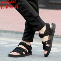 茉蒂菲莉 凉鞋 男士魔术贴橡胶底夏季黑色休闲鞋新款男式越南鞋时尚潮流运动男鞋户外沙滩鞋子