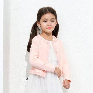 amii童装2017春装新款女童外套加绒儿童加厚开衫中大童休闲上衣