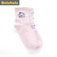 巴拉巴拉童装女童袜子 中大童童袜2017春季新款袜 儿童棉袜女2双装