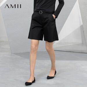 Amii[极简主义]2017夏新女大码休闲棉氨宽松带腰带五分裤11741200