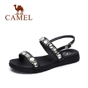 camel骆驼女鞋 夏季新款时尚水钻凉鞋女 欧美街头风个性百搭凉鞋