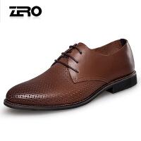 Zero零度春夏新款男士皮鞋真皮正装皮鞋通勤鞋低跟系带透气镂空鞋D71023
