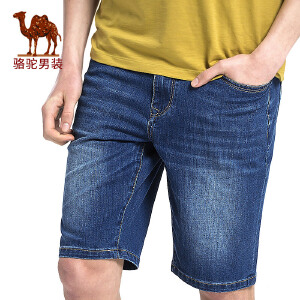 骆驼男装 2017年夏季新款微弹中腰水洗拉链青春男青年短裤牛仔裤