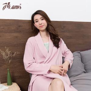 顶瓜瓜睡衣女士中长款纯色棉质面料系带中厚款睡袍单件秋冬家居服