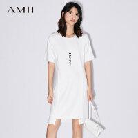 Amii[极简主义]2017夏装新款大码休闲印花落差下摆连衣裙11722149