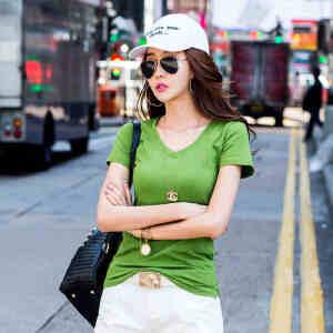 2017夏季新款女装上衣t恤韩版纯棉短袖T恤女纯色打底衫V领ZY3853