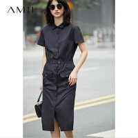 Amii[极简主义]2017夏装新品短袖衬衫领工装风宽松连衣裙11772476