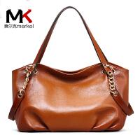 莫尔克(MERFKEL)新款牛皮女包链条包单肩时尚头层牛皮手提包商务精英休闲百搭包包