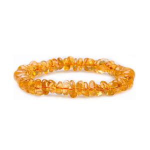 芭法娜 晶喜 天然黄水晶随形单圈素圈手链 附证书