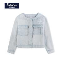 芙瑞诺童装春季新款女童牛仔短外套韩版中童清新纯棉外套