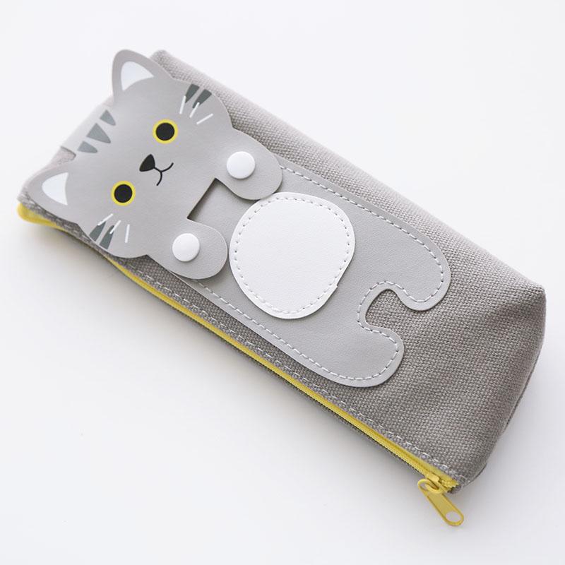 乌龟先森 笔袋 创意拉链卡通猫咪帆布三角形正方形文具盒小清新送儿童