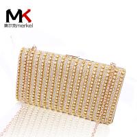 莫尔克(MERKEL)2017新款钻石时装镶钻晚宴包水钻珍珠单肩斜挎链条手拿手抓包时尚百搭
