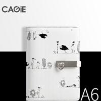 卡杰 创意A6皮质活页本搭扣手帐本可插笔笔记本记事本便携日记本子