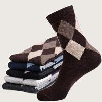 货到付款 Yinbeler 【五双装】加厚保暖兔羊毛中筒男袜 中老年 休闲商务家居菱形款 礼盒