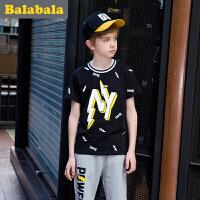 巴拉巴拉童装男童短袖套装男中大童2017新款衣服儿童两件套半袖潮