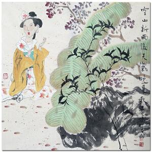 中国美术家协会会员梁文博《唐人诗意图》