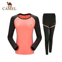 【领券满299-200】camel骆驼运动针织套装 女款微弹透运动健身长袖两件套