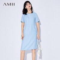 Amii[极简主义]2017夏装新品宽松插袋丹宁蓝调牛仔连衣裙11733159