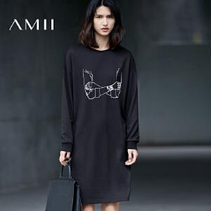【预售】Amii2017春女个性印花纯棉宽松套头大码连衣裙11770202