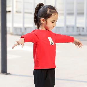 amii童装2017春新款女童长袖T恤中大童儿童女休闲上衣印花打底衫