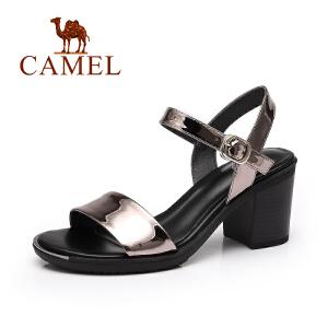 camel骆驼女鞋 夏季新品时尚简约凉鞋女 一字带优雅百搭高跟凉鞋