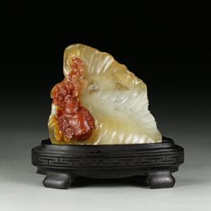 旧藏  寿山水洞高山石 精雕勃勃生机摆件 jd2422