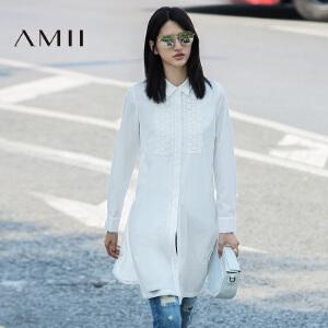 【AMII超级大牌日】[极简主义]2017年春女新品翻领花蕾丝拼接长款衬衫长袖上衣