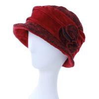 秋冬季中老年女士夹棉盆帽老人礼帽女冬老太太保暖帽子
