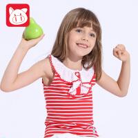 小猪班纳童装女童背心纯棉夏季儿童中大童无袖打底T恤韩版背心女