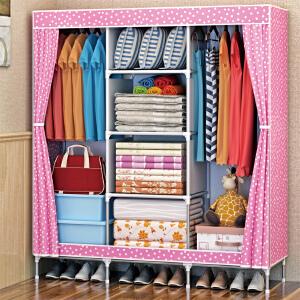 亚思特简易布衣柜 大号加厚无纺布布衣橱 加固钢管组合衣柜1609