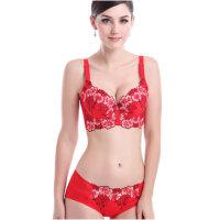 本命年红色薄款聚拢性感调整型文胸套装大码刺绣收副乳女内衣
