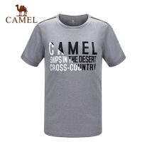 camel骆驼运动男款跑步圆领T恤 速干排汗透气印花短袖T